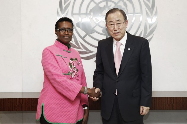 Winnie Byanyima, Executive Director of Oxfam with UN Secretary-General Ban Ki-moon. Credit: UN Photo/Evan Schneider.