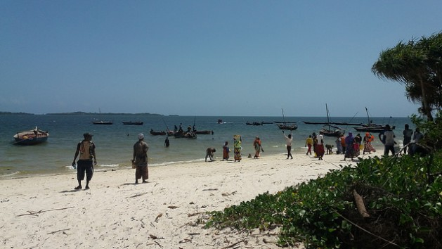 People at Gasi Beach in Kwale County, on Kenya's Indian Ocean coast, wait for fishermen to buy the daily catch. Credit: Diana Wanyonyi/IPS