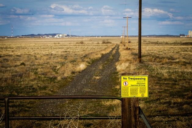 At the perimetre of Hanford Nuclear Reservation in Washington State. Credit: Jason E. Kaplan/IPS