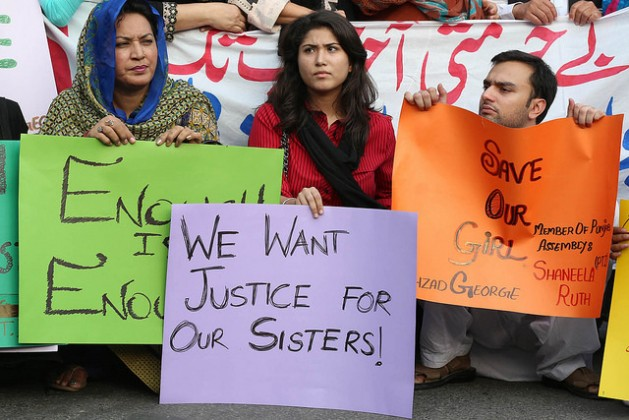 Protesters gather outside the Lahore Press Club in the capital of Pakistan's Punjab province on July 12, 2016 to demand justice for victims of sexual violence. Credit: Irfan Ahmed/IPS