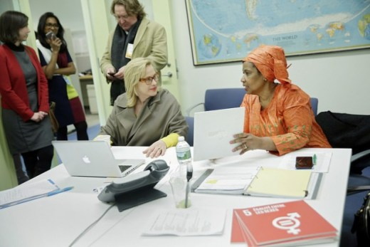 Phumzile Mlambo-Ngcuka, Executive Director of UN Women with actress Patricia Arquette. Credit: UN Women/Ryan Brown.