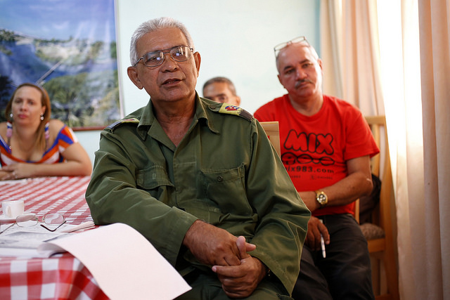 Baracoa Mayor Luis Sánchez Rodríguez shows IPS the impact on Cuba's oldest city of Hurricane Matthew, and explains the measures adopted to reactivate production in the main agricultural.  Credit: Jorge Luis Baños/IPS