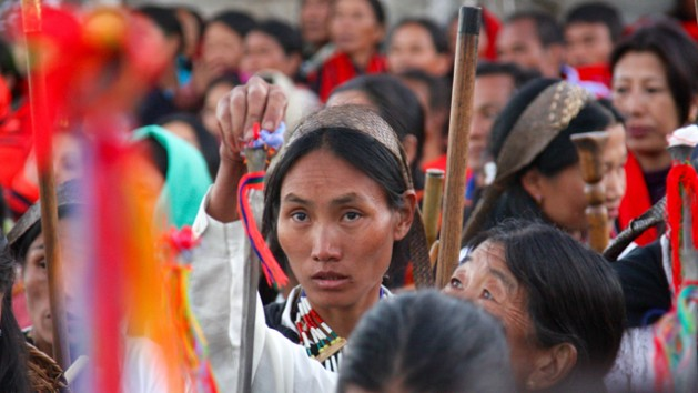 Indigenous women join protests for land rights in Asia. Credit: IWGIA