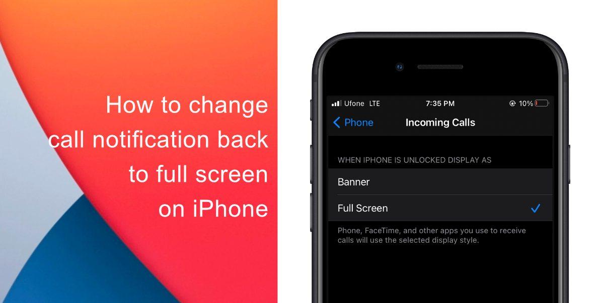 Как вернуть уведомление о вызове в полноэкранный режим на iPhone