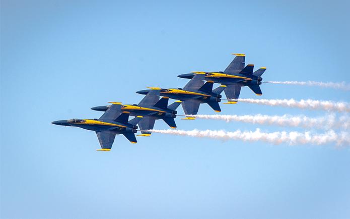 The Blue Angels flight demonstration squadron performing at 2015 San Francisco Fleet Week