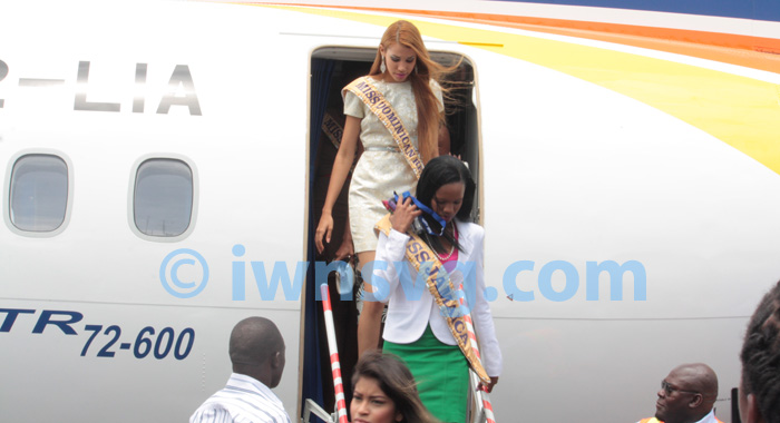 Contestants In The 2013 Miss Carival Pageant Disembark The Aircraft After The Demonstration Flight.