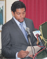 Camillo Gonsalves As He Is Sworn In As Minister Of Foreign Affairs On Sept. 16, 2013. (Iwn Photo)