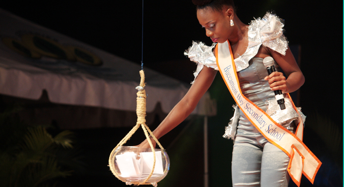 Second Runner-Up: Terreka Nero Of The Buccament Bay Secondary Picks A Heritage Question. (Iwn Photo)