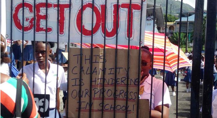 Students Protest At Sjck On Monday. (Internet Photo)