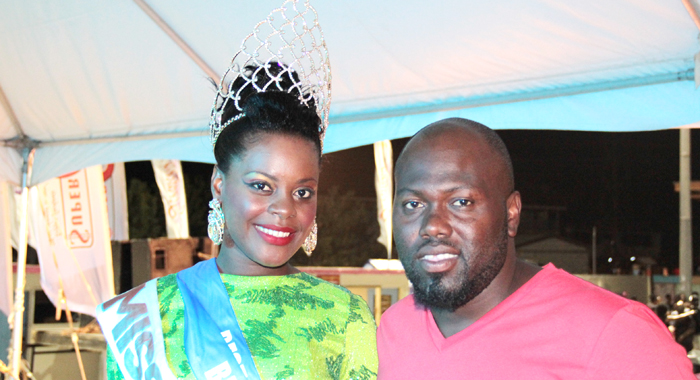 Head Of The Easterval Committee, Abdon Whyte, Posses With Miss Easterval 2014, Miss Union Island Phillip Dember. (Iwn Photo)