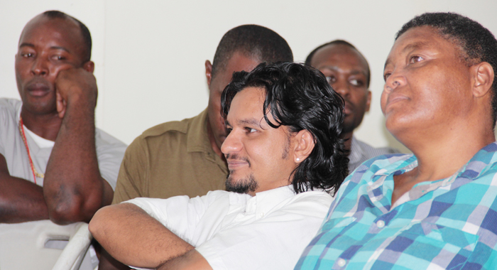 Captain Of Smasher Marvin Harry, Centre, Reacts As Julian Jack Responds To The Motion Of No Confidence. (Iwn Photo)