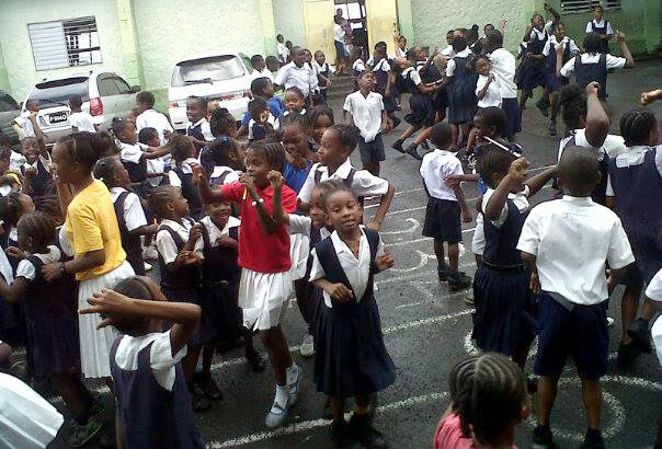 Questelles Government School Students Celebrate Their Schoolmates' Performance In The Cpea. (Photo: Facebook)
