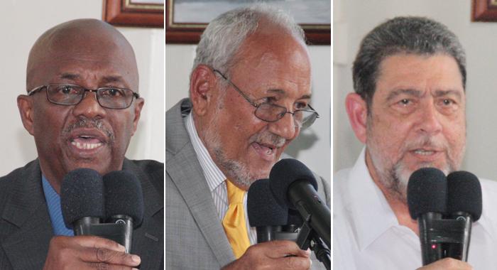 From Left: Arnhim Eustace, James Mithcell, Ralph Gonsalves. (Iwn Photos)