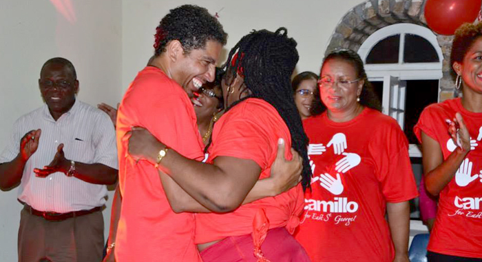 Sen. Gonsalves Is Greeted At The Constituency Conference. (Photo: Lance Neverson/Facebook)