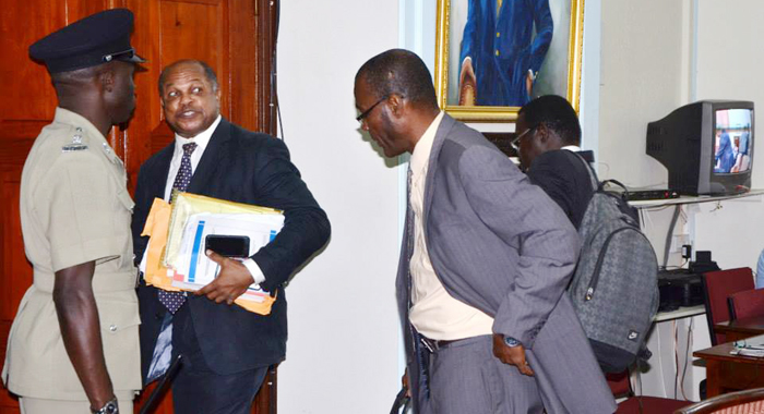 Sen. Linton Lewis, Second Left, And Other Opposition Lawmakers Leave Parliament On Tuesday. (Photo: Lance  Neverson/Facebook)