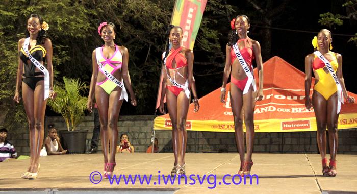 Contestants In Swimwear. From Left: Miss High Road Shafiqua Llewellyn, Miss Betromé Breanna George, Miss Reversion Cherise Roberts, Miss Glebe Hill Atesha Culzac, Miss Texier Road Felicia John. (Iwn Photo)