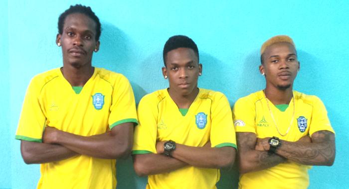 Vincy Heat's Goal Scorers. From Left: Tevin Slater, Oalex Anderson And Myron Samuel. (Photo: E. Glenford Prescott)
