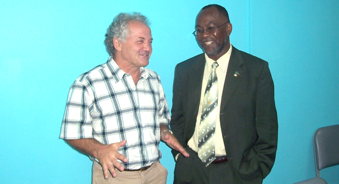 Former Svgff President, St. Clair Leacock With Zoran Vranes.