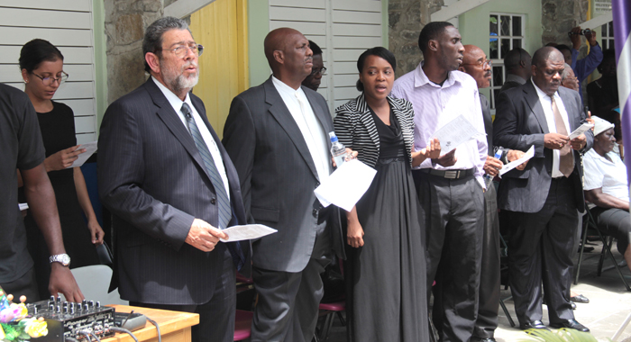 From Left: Prime Minister Ralph Gonsalves, Opposition Leader Arnhim Eustace, Drp Leader Anesia Baptiste, Baptiste'S Husband, Calvert Baptiste, And Mp For North Leeward, Patel Matthews At The Funeral On Sunday. (Iwn Photo)