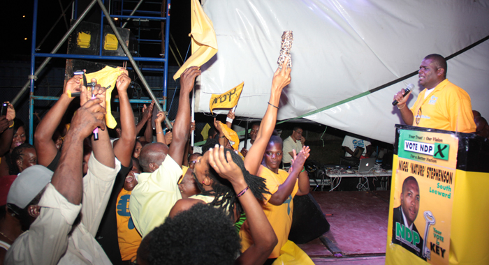 Mp For North Leeward, Roland &Quot;Patel&Quot; Matthews Addresses The Ndp Rally In Campden Park On Sunday. (Iwn Photo)