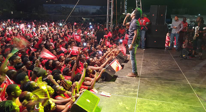 Jamaican Lovers Rock Singer Romain Virgo And His Band Perform At The Ulp Rally In Arnos Vale On Saturday. (Photo: Lance Neverson/Facebook)