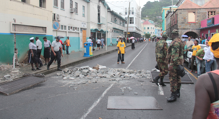 Opposition Supporters Dumped Debris In The Street As Part Of Their Protest. (Iwn Photo)