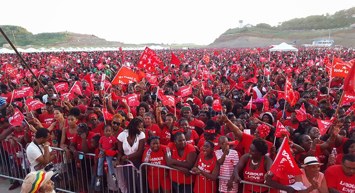 A Section Of The Crowd At A Ulp Election Rally At The Unfinished Argyle Airport On Dec. 6, 2015. (Photo: Lance Neverson/Facebook)