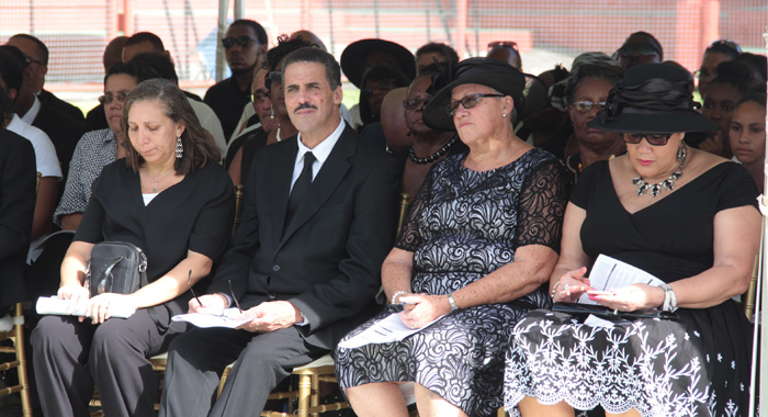 Mcintosh'S Widow, Carmel, Second Right, And Other Relatives At The Funeral. (Iwn Photo)