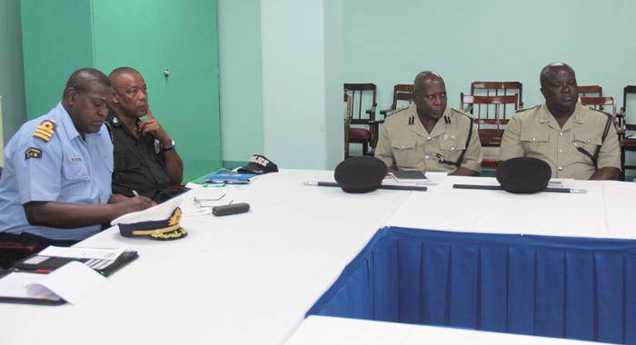 Commissioner Of Police Michael Charles, Second Right, And Other Senior Officers At Friday'S Launch. (Iwn Photo)