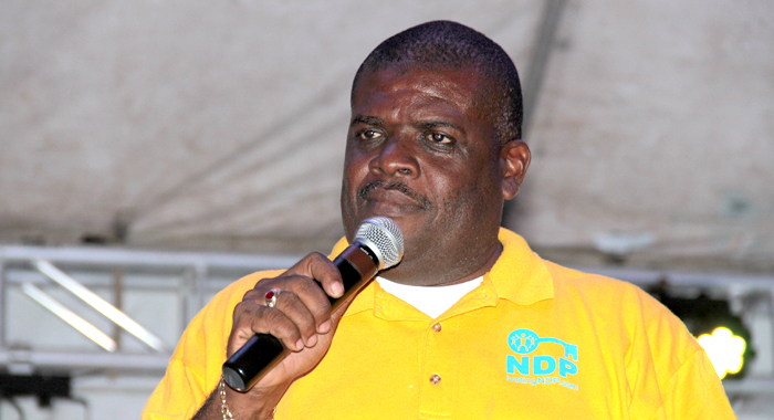 Mp For North Leeward, Roland &Quot;Patel&Quot; Matthews Speaking At The Ndp'S Rally In Layou On Saturday. (Iwn Photo)