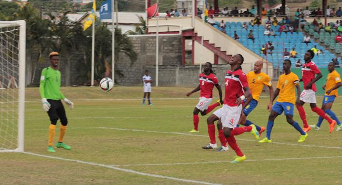 Denied: Vincy Heat Deny The Soca Warriors Another Goal. (Iwn Photo)