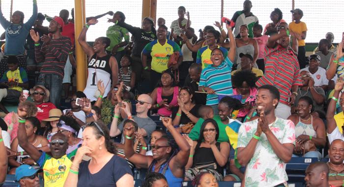 Vincy Heat Fans React After Myron Samuel'S Goal. (Iwn Photo)