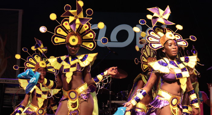 A Section From A Mas Band On Stage At The Launch Of Vincy Mas 2016. (Iwn Photo)