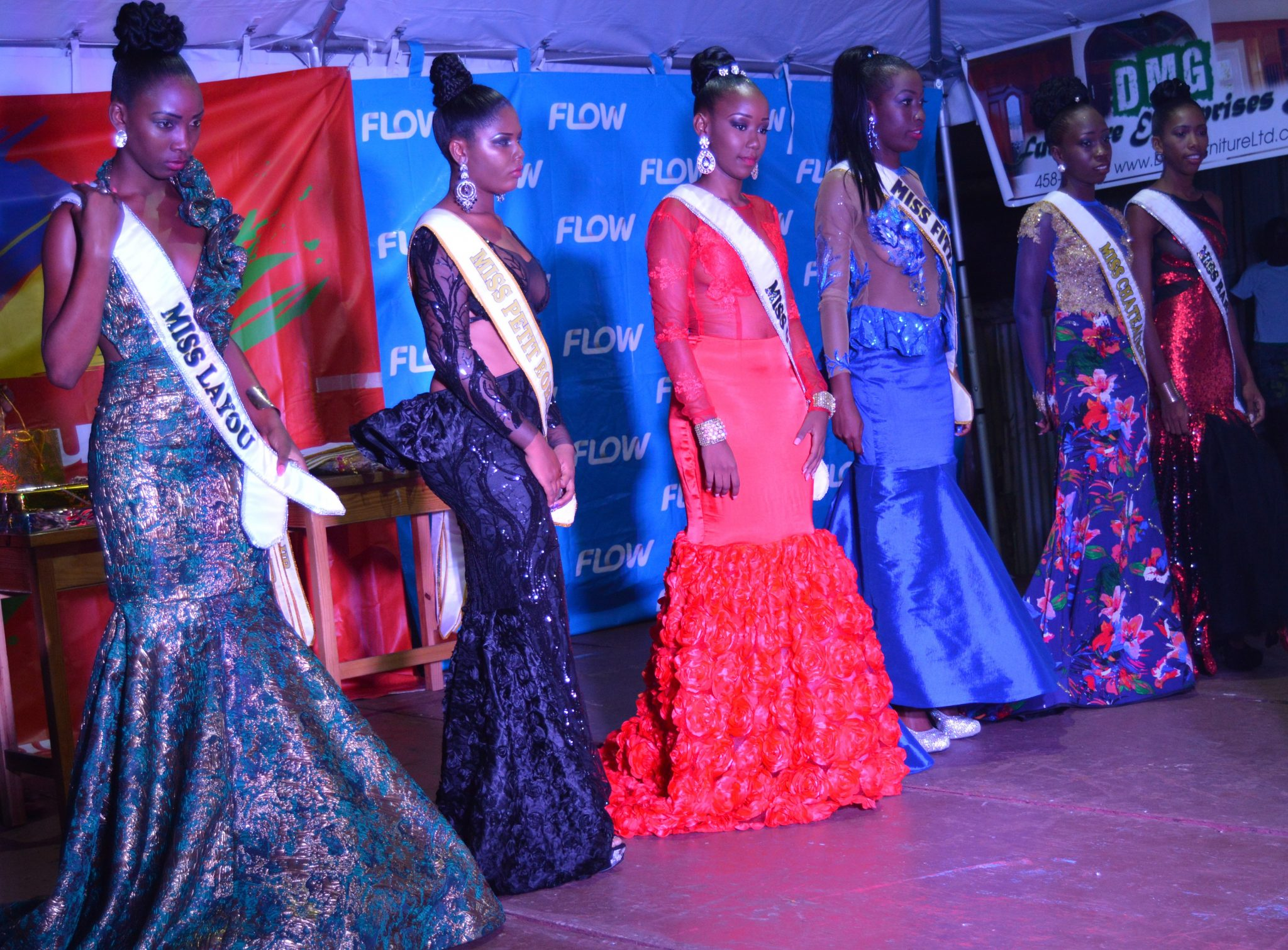 Contestants In The Miss Leeward Pageant In Evening Wear. (Photo: Jules Anthony)