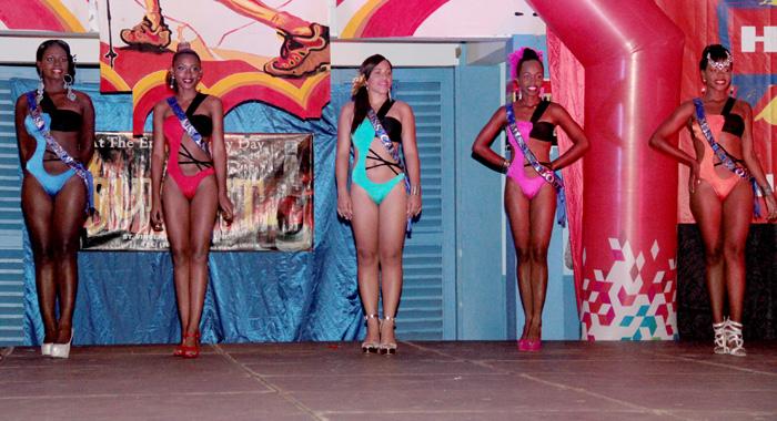 Contestants In Swimwear. From Left: Lorice Nero -- Miss Pepper Village, Kimesia Bowens -- Miss Langley Park, Cristal Pope -- Miss Caratal, Zoneh Seymour -- Miss Biabou, Monifar Cordice -- Miss Kayow. (Iwn Photo)