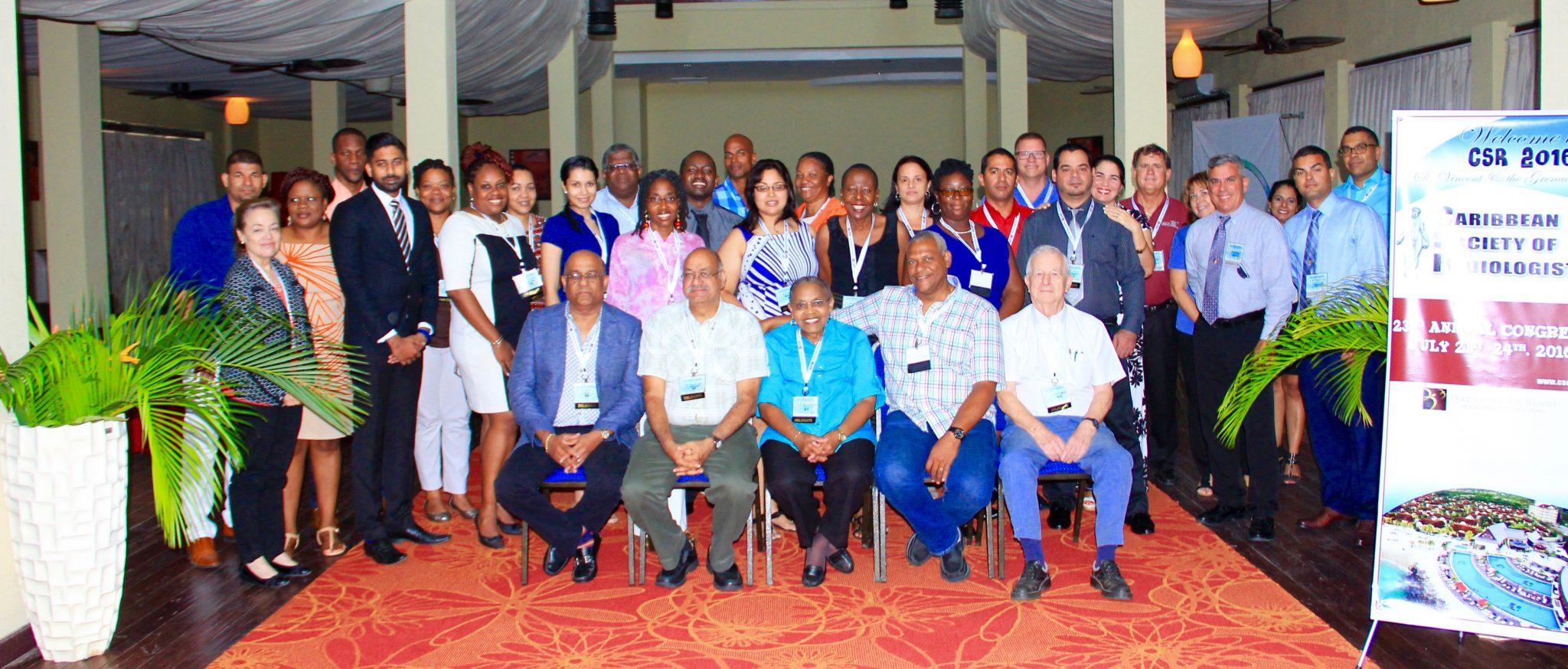 Front Row: From Left -- Dr. A. Ameeral (Trinidad) Dr. P. Maharaj (Trinidad) Dr. R.e. Ambrose (Svg), Dr. J. Jessurun (Suriname/Curaçao,) Dr. N. Moule (Jamaica).