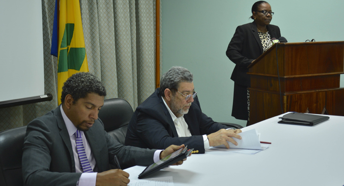 From Left: Minister Of Economic Planning, Camillo Gonsalves, Prime Minister Dr. Ralph Gonsalves, Director Of Planning Laura Anthony Browne At The Launch.  (Photo: Api)