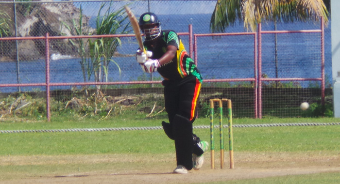 Man Of The Match Bhaskar Yadram Plays Through The Legside.
