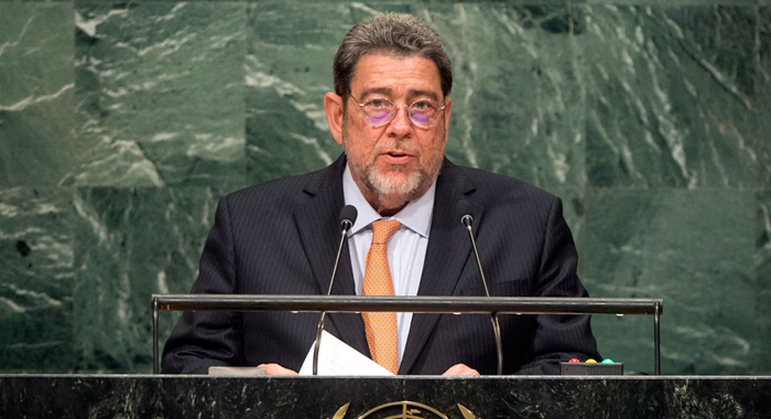 Prime Minister  Dr. Ralph Gonsalves Addresses The United Nations On Friday. (Un Photo/Cia Pak)