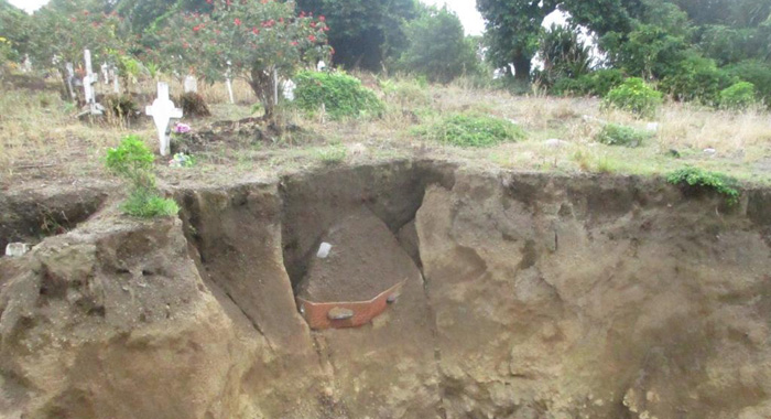 Cemetery With Coffin Sticking Out Of The Ground Tombstones Are Down And Most Of The Earth Is Removed Pt3