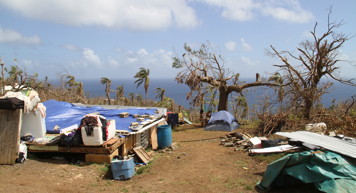 Kent Auguiste%E2%80%99S Home In Storm Ravaged Bataca Dominica Is Now Home For 12 Persons Three Of Whom Sleep In A Camping Tent. Cmc Photo