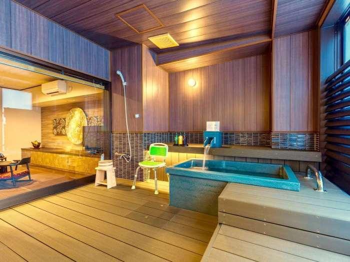 【瑞の里〇久旅館】半露天風呂付き和洋室(バリアフリー)の半露天風呂