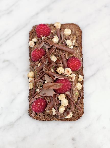 Avocado on rye toast with chocolate