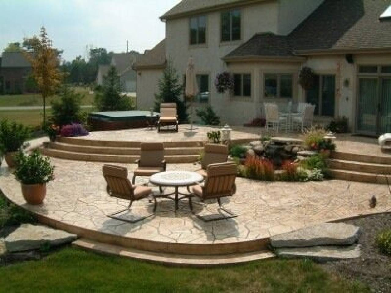 Tiered Patio Designs Stamped Concrete - House Plans | #173461 on Raised Concrete Patio Ideas id=11214