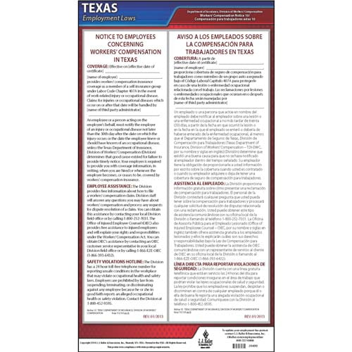 texas notice 10 workers compensation coverage self insurance group poster