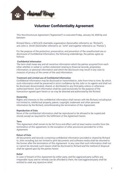 Additionally, no intern, volunteer or observer is allowed to take. Volunteer Confidentiality Agreement Pdf Templates Jotform