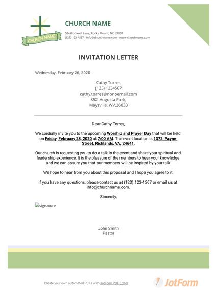 church invitation letter pdf