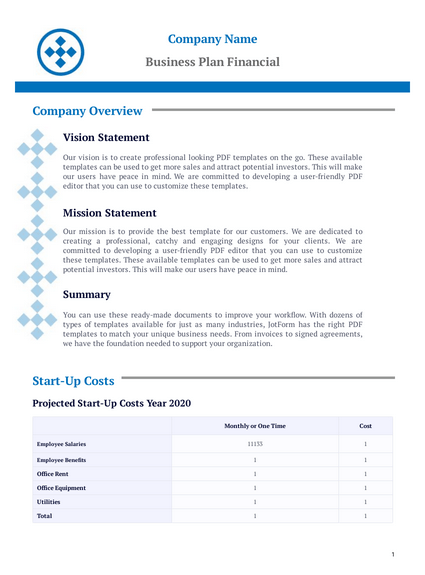• the financial plan & the various requirements are based on your present financial condition. Business Plan Financial Template Pdf Templates Jotform