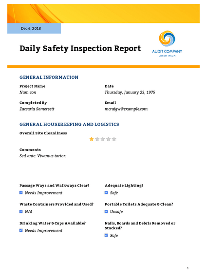Download this daily safety report template for outlining safety procedures taken on a daily basis. Daily Safety Inspection Report Pdf Templates Jotform