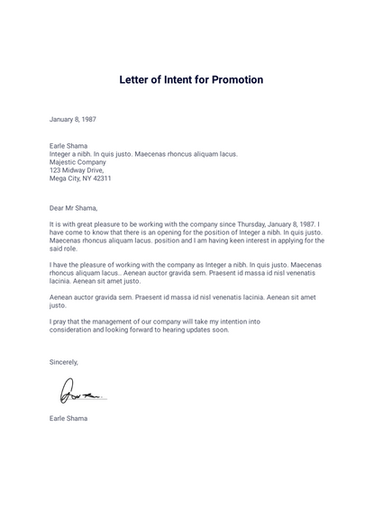 Letter Of Intent For Promotion Pdf